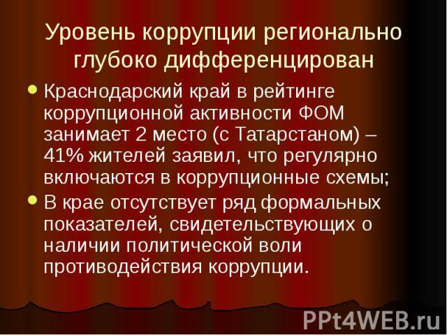 Уровень коррупции регионально глубоко дифференцирован Краснодарский край в рейтинге коррупционной активности ФОМ занимает 2 место (с Татарстаном) – 41% жителей заявил, что регулярно включаются в коррупционные схемы; В крае отсутствует ряд формальных…
