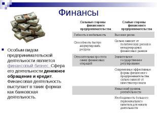 Финансы Особым видом предпринимательской деятельности является финансовый бизнес