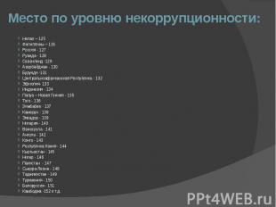 Место по уровню некоррупционности: Непал – 125 Филиппины – 126 Россия - 127 Руан