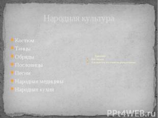 Народная культура Костюм Танцы Обряды Пословицы Песни Народная медицина Народная
