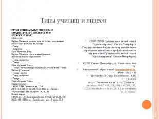Типы училищ и лицеев ПРОФЕССИОНАЛЬНЫЙ ЛИЦЕЙ № 57 КОНДИТЕРСКОГО МАСТЕРСТВА И ХЛЕБ