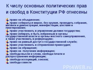 К числу основных политических прав и свобод в Конституции РФ отнесены право на о