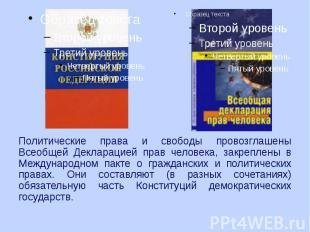 Политические права и свободы провозглашены Всеобщей Декларацией прав человека, з