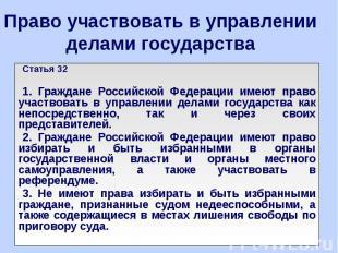 Право участвовать в управлении делами государства Статья 32 1. Граждане Российск