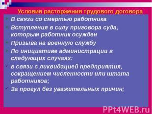 Условия расторжения трудового договора В связи со смертью работника Вступления в