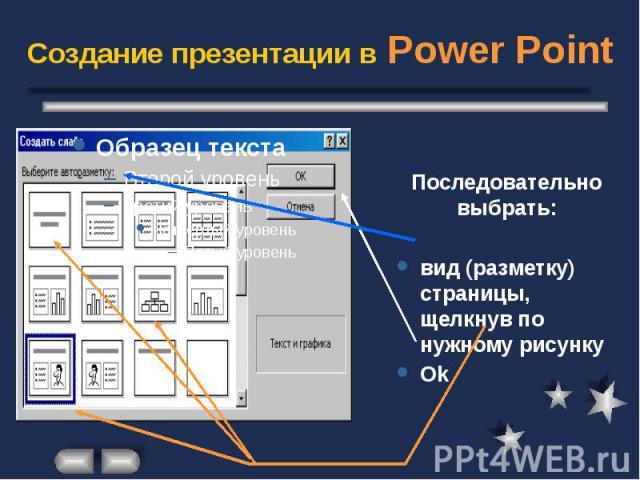 Создание презентации в Power Point Последовательно выбрать: вид (разметку) страницы, щелкнув по нужному рисунку Ok
