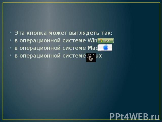 Эта кнопка может выглядеть так: в операционной системе Windows в операционной системе Maс OS в операционной системе Linux