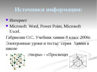 Источники информации: Интернет Microsoft Word, Power Point, Microsoft Excel. Габ