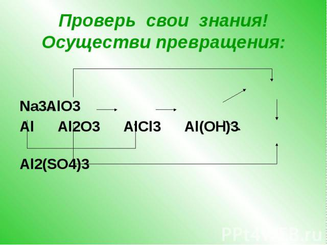 Проверь свои знания! Осуществи превращения: Na3AlO3 Al Al2O3 AlCl3 Al(OH)3 Al2(SO4)3
