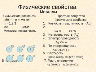 Физические свойства Металлы Химические элементы Простые вещества Ме – n e = Ме n