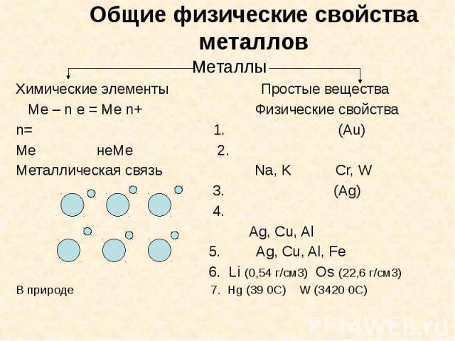Общие физические свойства металлов Металлы Химические элементы Простые вещества Ме – n e = Ме n+ Физические свойства n= 1. (Au) Me неМе 2. Металлическая связь Na, K Cr, W 3. (Ag) 4. Ag, Cu, Al 5. Ag, Cu, Al, Fe 6. Li (0,54 г/см3) Os (22,6 г/см3) В п…