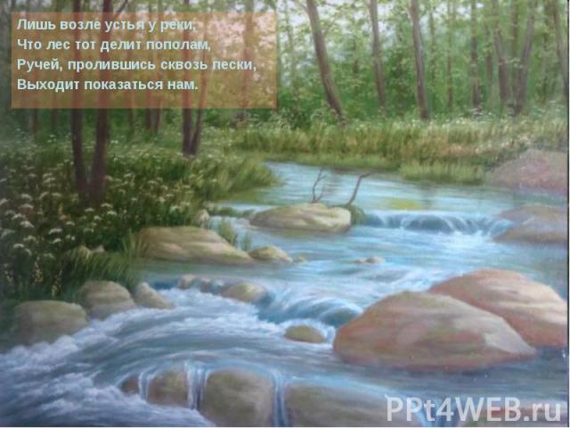 Лишь возле устья у реки, Лишь возле устья у реки, Что лес тот делит пополам, Ручей, пролившись сквозь пески, Выходит показаться нам.