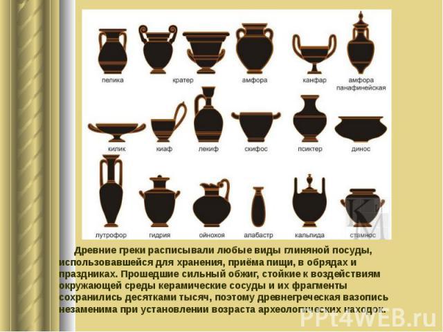Древние греки расписывали любые виды глиняной посуды, использовавшейся для хранения, приёма пищи, в обрядах и праздниках. Прошедшие сильный обжиг, стойкие к воздействиям окружающей среды керамические сосуды и их фрагменты сохранились десятками тысяч…
