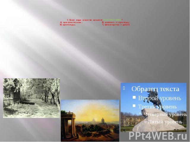 2. Какие виды искусства называют ПЛАСТИЧЕСКИМИ ? А) пространственные ; Б) живопись и скульптуру ; В) архитектуру ; Г) фотоискусство и дизайн.