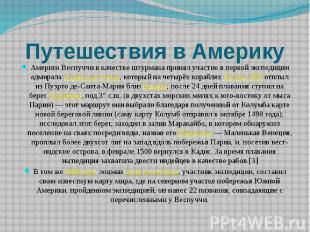 Путешествия в Америку Америго Веспуччи в качестве штурмана принял участие в перв