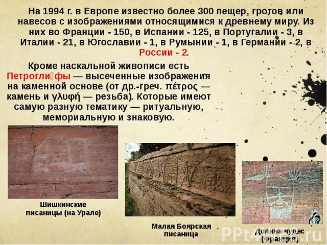 На 1994 г. в Европе известно более 300 пещер, гротов или навесов с изображениями относящимися к древнему миру. Из них во Франции - 150, в Испании - 125, в Португалии - 3, в Италии - 21, в Югославии - 1, в Румынии - 1, в Германии - 2, в России - 2.