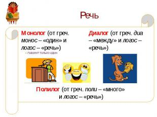 Речь Монолог (от греч. монос – «один» и логос – «речь»)