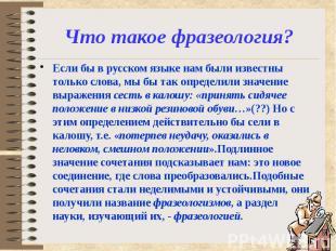 Что такое фразеология? Если бы в русском языке нам были известны только слова, м