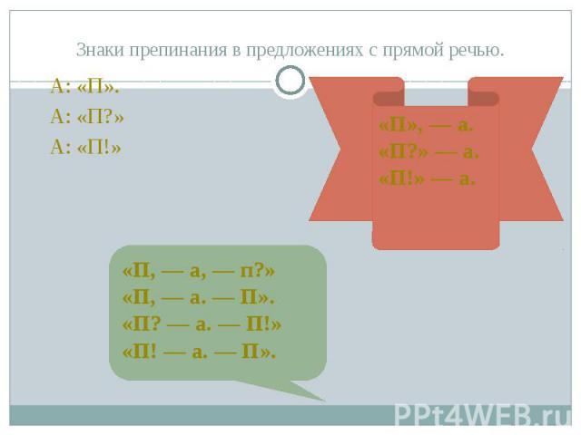 Знаки препинания в предложениях с прямой речью. А: «П». А: «П?» А: «П!»