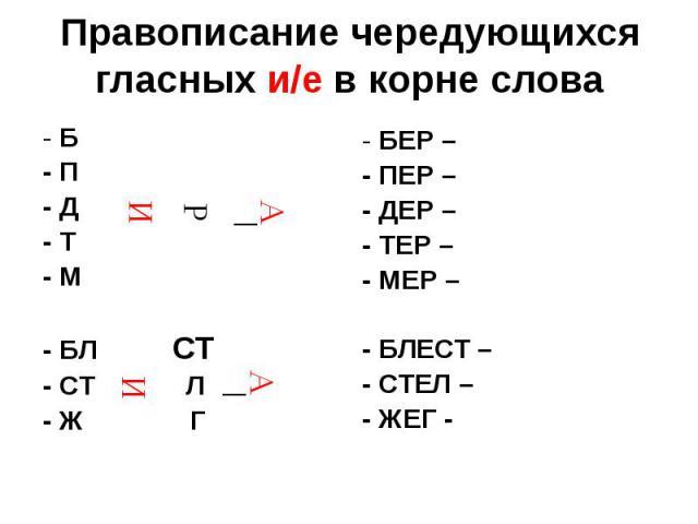 Правописание чередующихся гласных и/е в корне слова - Б - П - Д - Т - М - БЛ СТ - СТ Л - Ж Г