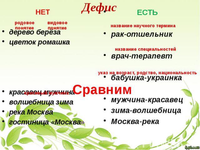 Дефис НЕТ дерево берёза цветок ромашка красавец мужчина волшебница зима река Москва гостиница «Москва»