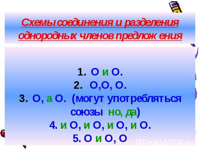 Схемы соединения и разделения однородных членов предложения О и О. О,О, О. О, а О. (могут употребляться союзы но, да) 4. и О, и О, и О, и О. 5. О и О, О