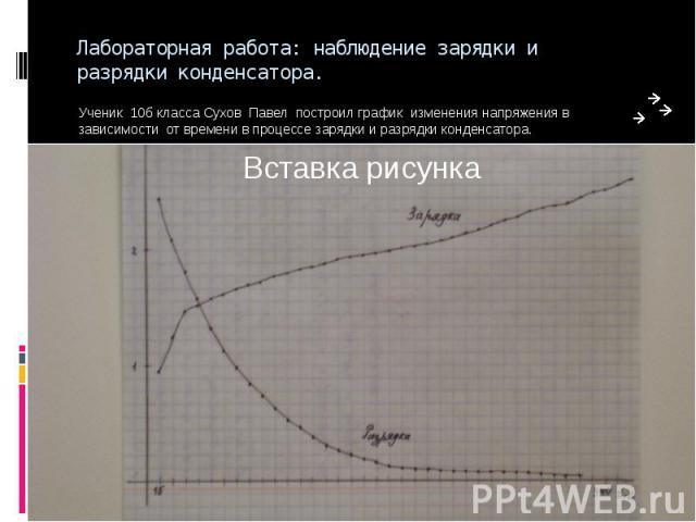 Лабораторная работа: наблюдение зарядки и разрядки конденсатора. Ученик 10б класса Сухов Павел построил график изменения напряжения в зависимости от времени в процессе зарядки и разрядки конденсатора.