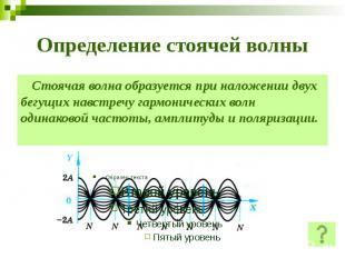 Определение стоячей волны Стоячая волна образуется при наложении двух бегущих на