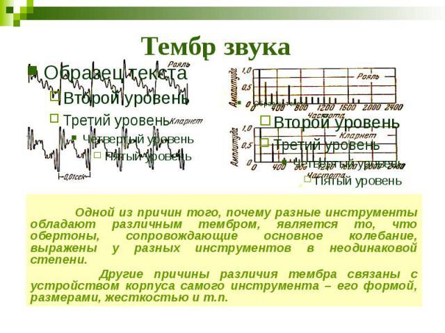 Тембр звука Одной из причин того, почему разные инструменты обладают различным тембром, является то, что обертоны, сопровождающие основное колебание, выражены у разных инструментов в неодинаковой степени. Другие причины различия тембра связаны с уст…