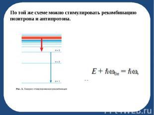 По той же схеме можно стимулировать рекомбинацию позитрона и антипротона. По той
