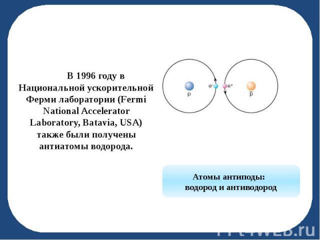 В 1996 году в Национальной ускорительной Ферми лаборатории (Fermi National Accelerator Laboratory, Batavia, USA) также были получены антиатомы водорода. В 1996 году в Национальной ускорительной Ферми лаборатории (Fermi National Accelerator Laborator…