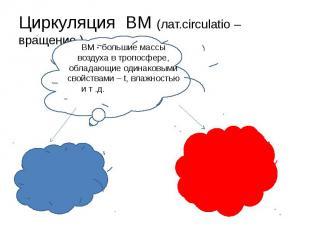 Циркуляция ВМ (лат.circulatio – вращение )