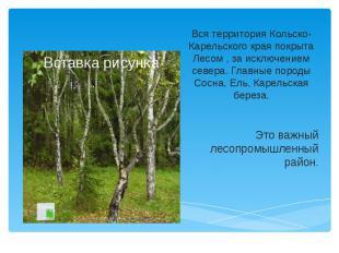 Вся территория Кольско-Карельского края покрыта Лесом , за исключением севера. Г