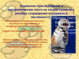 Из-за резкого сокращения ареала и численности тигр занесен в международную «Крас