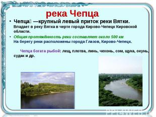 река Чепца Чепца —крупный левый приток реки Вятки. Впадает в реку Вятка в черте