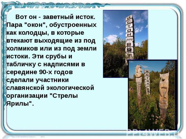 """Вот он - заветный исток. Пара """"окон"""", обустроенных как колодцы, в которые втекают выходящие из под холмиков или из под земли истоки. Эти срубы и табличку с надписями в середине 90-х годов сделали участники славянской экологической организа…"""