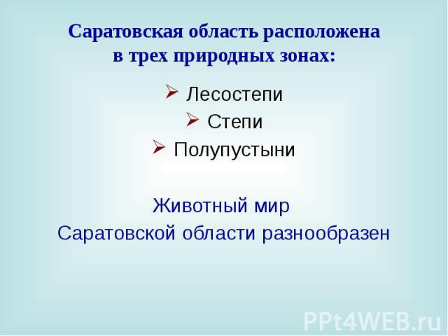 Саратовская область расположена в трех природных зонах: Лесостепи Степи Полупустыни Животный мир Саратовской области разнообразен