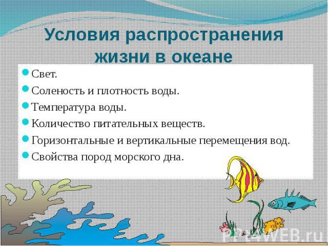 Условия распространения жизни в океане Подумайте, что влияет на распространение жизни в океане?