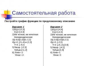 Самостоятельная работа Вариант 1 1)D(y)=[-5;3] E(y)=[-3;3] 2)Ни четная, ни нечет