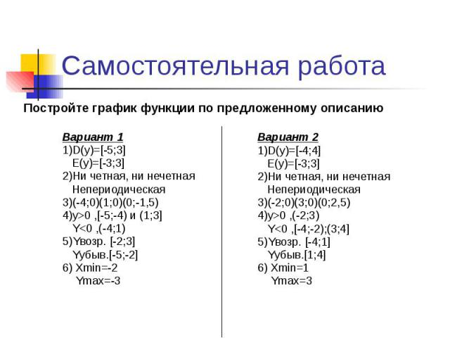 Самостоятельная работа Вариант 1 1)D(y)=[-5;3] E(y)=[-3;3] 2)Ни четная, ни нечетная Непериодическая 3)(-4;0)(1;0)(0;-1,5) 4)y>0 ,[-5;-4) и (1;3] Y<0 ,(-4;1) 5)Yвозр. [-2;3] Yубыв.[-5;-2] 6) Xmin=-2 Ymax=-3
