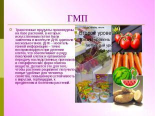 ГМП Трансгенные продукты произведены на базе растений, в которых искусственным п