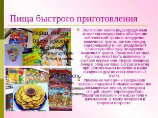 Пища быстрого приготовления Увлечение такого рода продуктами может спровоцироват