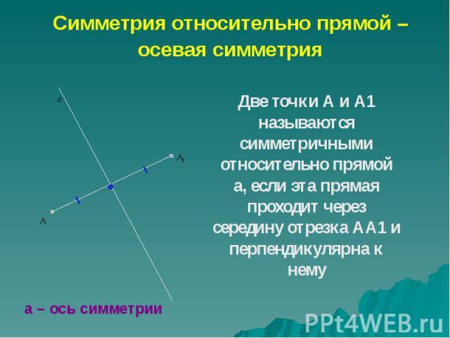 Две точки А и А1 называются симметричными относительно прямой а, если эта прямая проходит через середину отрезка АА1 и перпендикулярна к нему Две точки А и А1 называются симметричными относительно прямой а, если эта прямая проходит через середину от…