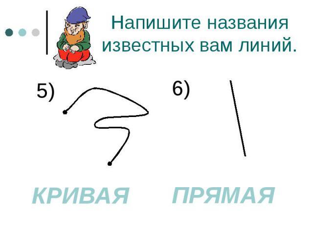 Напишите названия известных вам линий. 5)