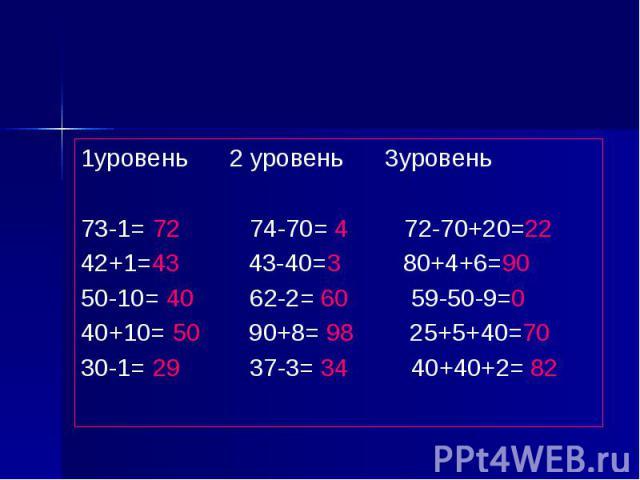 1уровень 2 уровень 3уровень 73-1= 72 74-70= 4 72-70+20=22 42+1=43 43-40=3 80+4+6=90 50-10= 40 62-2= 60 59-50-9=0 40+10= 50 90+8= 98 25+5+40=70 30-1= 29 37-3= 34 40+40+2= 82