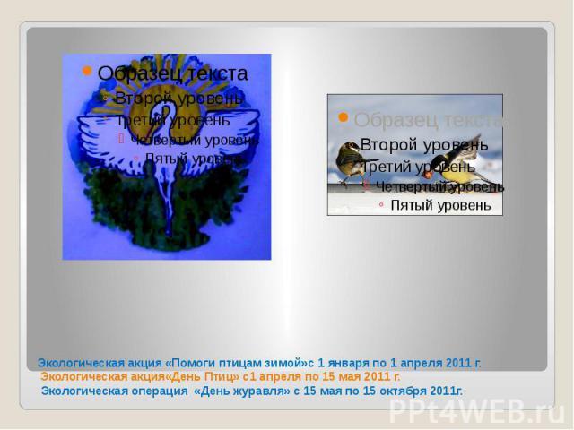 Экологическая акция «Помоги птицам зимой»с 1 января по 1 апреля 2011 г. Экологическая акция«День Птиц» с1 апреля по 15 мая 2011 г. Экологическая операция «День журавля» с 15 мая по 15 октября 2011г.