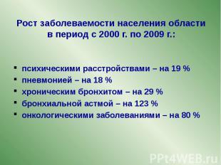 Рост заболеваемости населения области в период с 2000 г. по 2009 г.: психическим