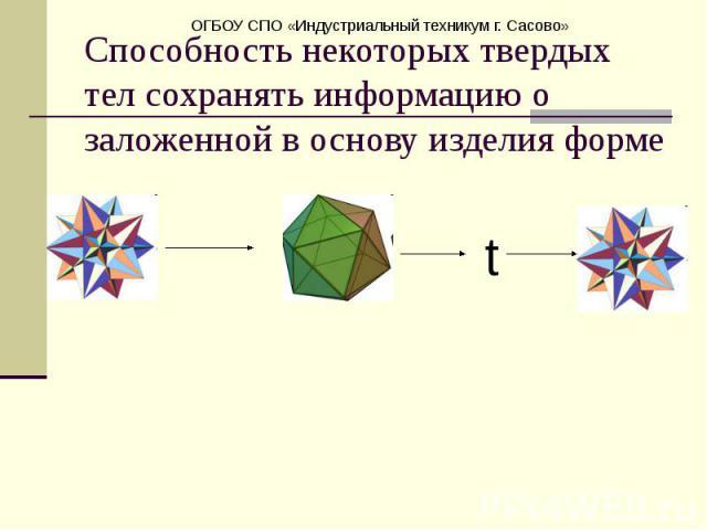 Способность некоторых твердых тел сохранять информацию о заложенной в основу изделия форме