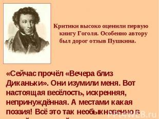 Критики высоко оценили первую книгу Гоголя. Особенно автору был дорог отзыв Пушк