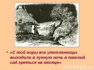 «С той поры все утопленницы выходили в лунную ночь в панский сад греться на меся
